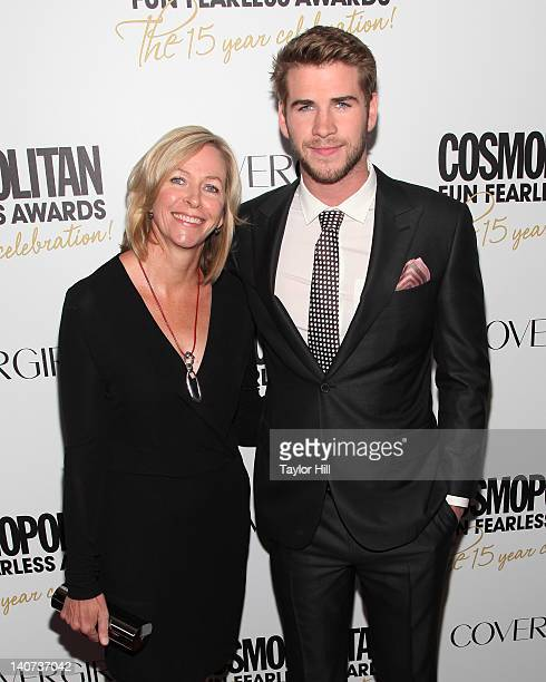Leonie Hemsworth and son Liam Hemsworth attend the Cosmopolitan Fun Fearless Men and Women of 2012 at the Mandarin Oriental Ballroom on March 5 2012...
