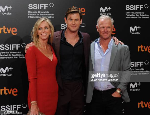 Leonie Hemsworth, Chris Hemsworth and Craig Hemsworth attend the red carpet of the closure gala during 66th San Sebastian Film Festival at Kursaal on...