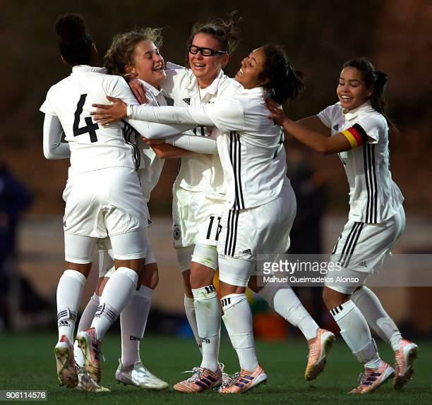 Leonie Koster of Germany celebrates scoring her team's second goal with her teammates during the international friendly match between U17 Girl's...
