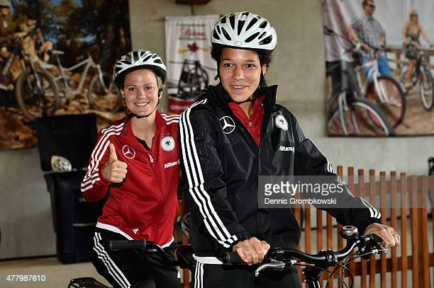 Leonie Maier and Celia Sasic of Germany pose prior to a bike ride on June 21 2015 in Ottawa Canada