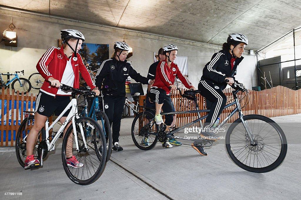 Leonie Maier and Celia Sasic of Germany prepare to take a bike ride on June 21, 2015 in Ottawa, Canada.