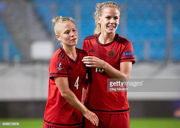 Leonie Maier and Lena Petermann of Germany celebrate the goal during the UEFA Women's Euro 2017 Qualifier match between Russia and Germany at Arena...