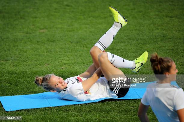 Leonie Maier attends a Germany Women's training session at Stadion Essen on September 18 2020 in Essen Germany