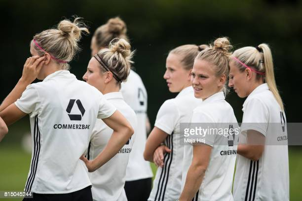 'SHERTOGENBOSCH NETHERLANDS JULY 15 Leonie Maier looks on during the training of a Germany Women's team on July 15 2017 in 'sHertogenbosch Netherlands