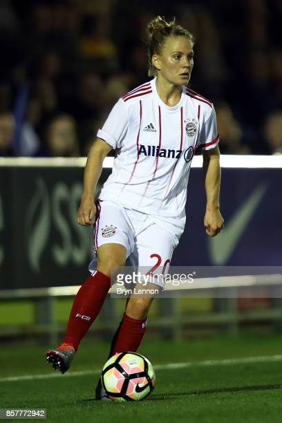 Leonie Maier of Bayern Munich in action during the UEFA Womens Champions League Round of 32 First Leg match between Chelsea Ladies and Bayern Munich...