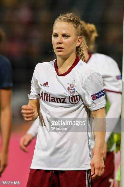 Leonie Maier of Bayern Munich looks on during the Champions League match between Bayern Munich and Paris Saint Germain at Municipal Stadium on the...