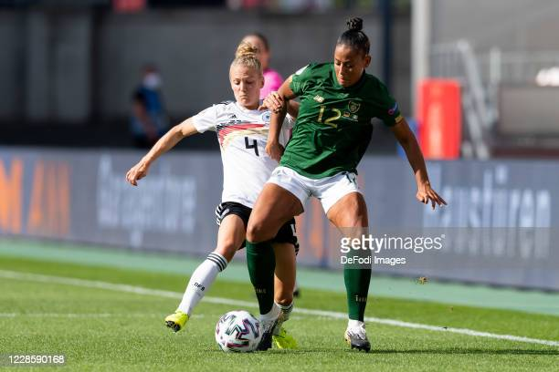 Leonie Maier of Germany and Rianna Lauren Jarrett of Republik Irland battle for the ball during the UEFA Women's EURO 2022 Qualifier between Germany...