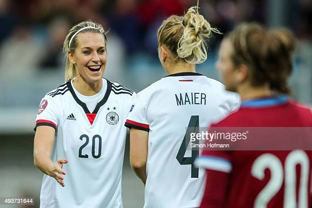 Leonie Maier of Germany celebrates her team's second goal with team mate Lena Goessling during the UEFA Women's Euro 2017 Qualifier match between...