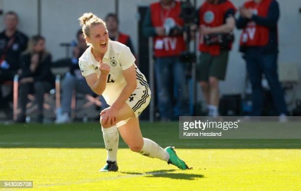 Leonie Maier of Germany celebrates the second goal by Lea Schueller during the 2019 FIFA Womens World Championship Qualifier match between Germany...
