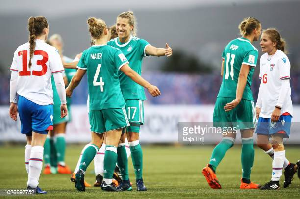 Leonie Maier of Germany celebrates with Verena Schweers of Germany after victory in the Faeroe Islands Women's v Germany Women's 2019 FIFA Women's...
