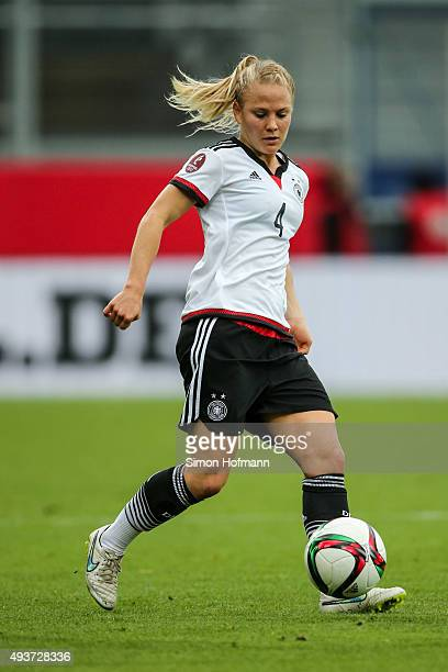 Leonie Maier of Germany controls the ball during the UEFA Women's Euro 2017 Qualifier match between Germany and Russia at BRITAArena on October 22...