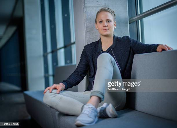 Leonie Maier of Germany poses for a portrait during the DFB Ladies Marketing Day at Commerzbank Arena on April 3 2017 in Frankfurt am Main Germany