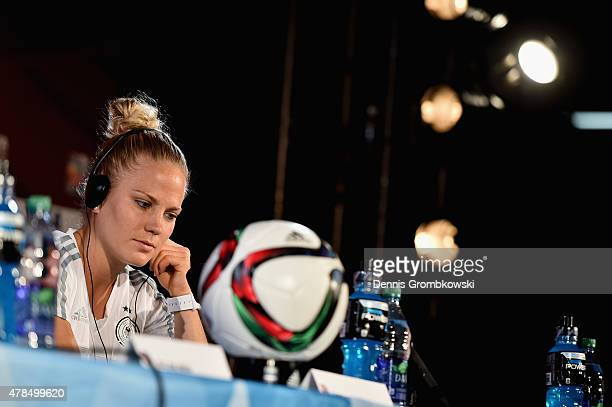 Leonie Maier of Germany reacts during a press conference at Stade Olympique de Montreal on June 25, 2015 in Montreal, Canada.