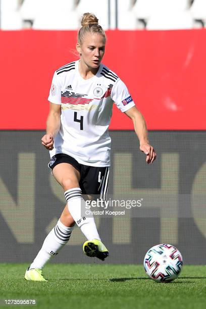 Leonie Maier of Germany runs with the ball during the UEFA Women's EURO 2022 Qualifier match between Germany and Ireland at Stadion Essen on...