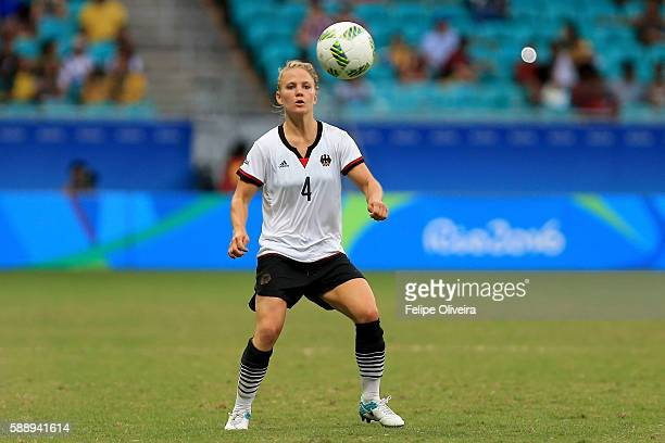Leonie Maier of Germany runs with the ball during the Women's Football Quarterfinal match between China and Germany on Day 7 of the Rio 2016 Olympic...