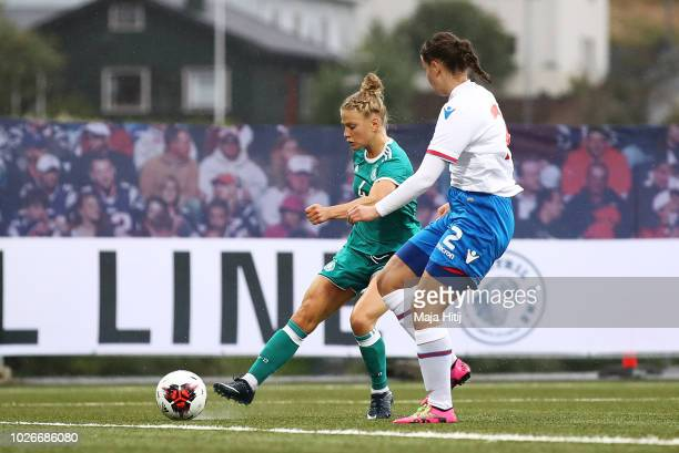 Leonie Maier of Germany scores a goal during the Faeroe Islands Women's v Germany Women's 2019 FIFA Women's World Championship Qualifier match on...