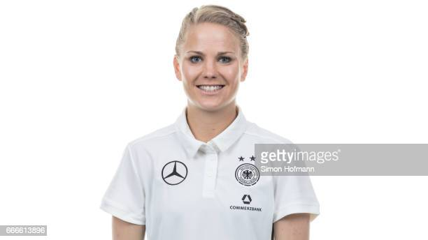 Leonie Maier poses during the DFB Ladies Marketing Day on April 3 2017 in Frankfurt am Main Germany
