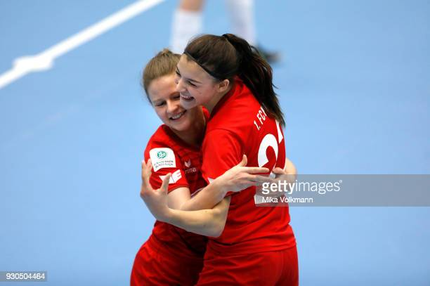 Leonie Proessl of Koeln celebrates scoring a goal with Rebecca Knorr of Koeln during the DFBFutsalCup half final match between 1FC Koeln vs SV Adler...