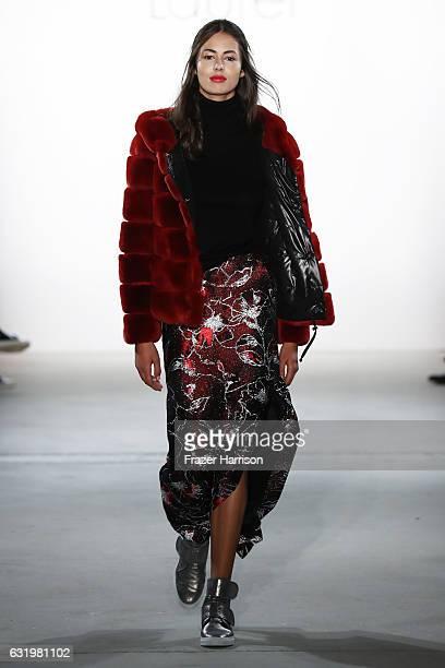 Leonie Scheunemann walks the runway at the Laurel show during the MercedesBenz Fashion Week Berlin A/W 2017 at Kaufhaus Jandorf on January 18 2017 in...