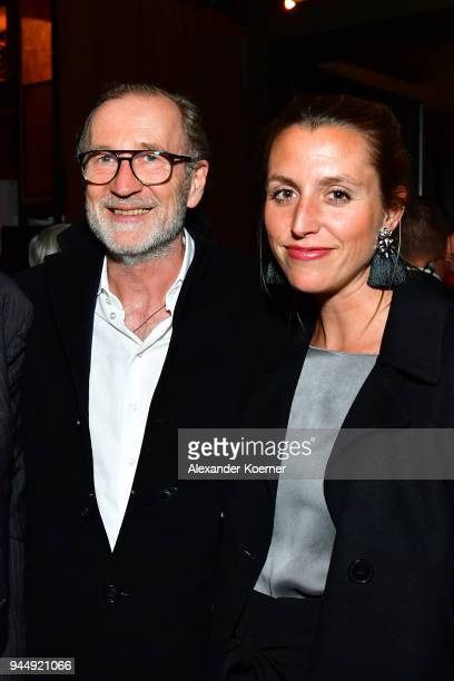 Leonie Seifert and Peter Lohmeyer attend the Nannen Award 2018 party at 25hours Hotel on April 11 2018 in Hamburg Germany
