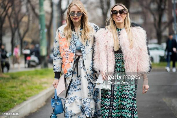 Leonie Sophie Hanne and Camila Carril seen outside Fendi during Milan Fashion Week Fall/Winter 2018/19 on February 22 2018 in Milan Italy