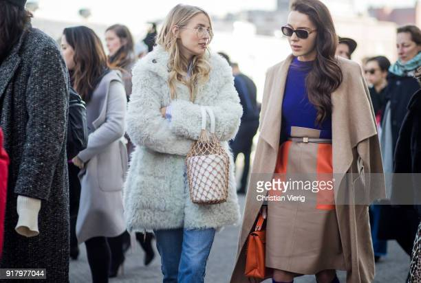 Leonie Sophie Hanne and Mary Leest seen outside Coach on February 13 2018 in New York City