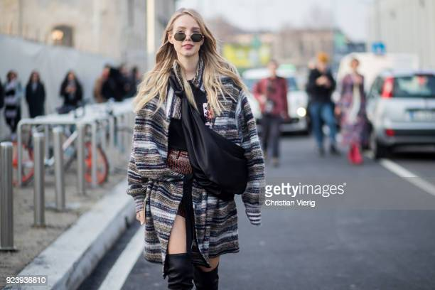 Leonie Sophie Hanne seen outside Missoni during Milan Fashion Week Fall/Winter 2018/19 on February 24 2018 in Milan Italy