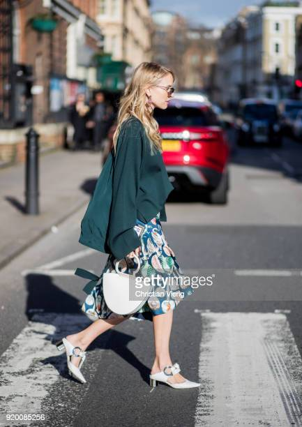 Leonie Sophie Hanne seen outside Temperley London during London Fashion Week February 2018 on February 18 2018 in London England