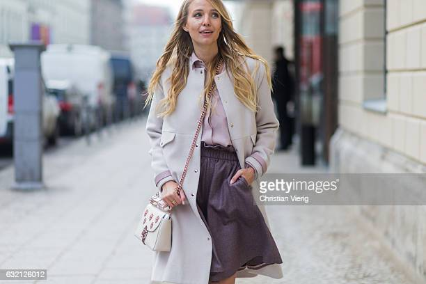 Leonie Sophie Hanne wearing a pastel coat and dress at Marina Hoermanseder during the MercedesBenz Fashion Week Berlin A/W 2017 at Kaufhaus Jandorf...