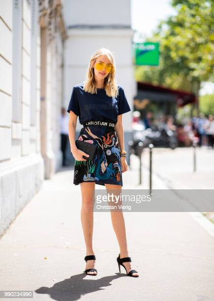 Leonie Sophie Hanne wearing Dior tshirt and printed skirt is seen outside Dior on day two during Paris Fashion Week Haute Couture FW18 on July 2 2018...