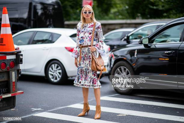 Leonie Sophie Hanne wearing dress is seen outside Tory Burch during New York Fashion Week Spring/Summer 2019 on September 7 2018 in New York City