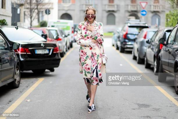 Leonie Sophie Hanne wearing floral print jacket and skirt is seen outside Dolce Gabbana during Milan Fashion Week Fall/Winter 2018/19 on February 25...