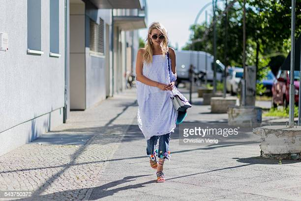 Leonie Sophie Hanne wearing Laurel outside Laurel during the MercedesBenz Fashion Week Berlin Spring/Summer 2017 on June 29 2016 in Berlin Germany