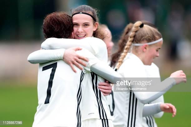 Leonie Stohr and Annika Wohnen of U16 Girls Germany celebrate a goal scored by Leonie Stohr during the UEFA Development Tournament match between U16...