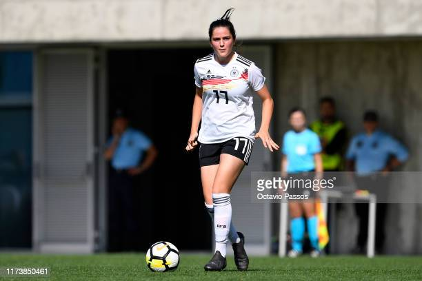 Leonie Weber of Germany in action during the UEFA Women's U19 European Championship Qualifier match between Germany and Azerbaijan at Cidade...