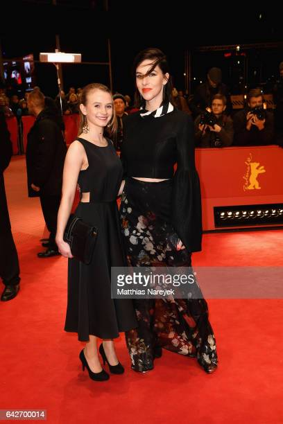 Leonie Wesselow and Kim Riedle arrive for the closing ceremony of the 67th Berlinale International Film Festival Berlin at Berlinale Palace on...