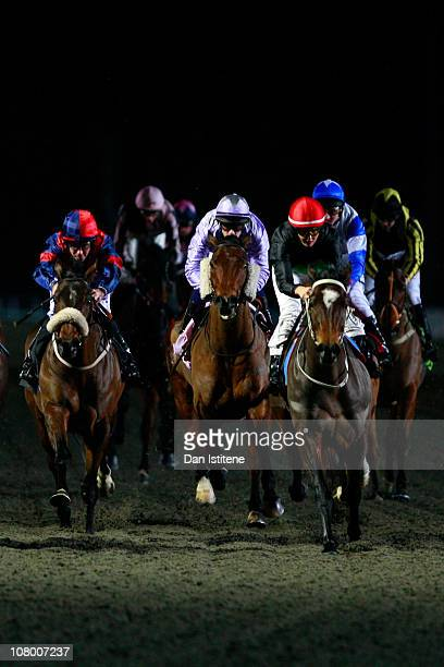 Leonna Mayor rides A Pocketful of Rye to third place during the skysportscom Racing Handicap Stakes at Kempton Park on January 12 2011 in Sunbury...
