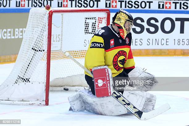 Leonoardo Genoni of Bern allows a goal during the Champions Hockey League Quarter Final match between Sparta Prague and SC Bern at O2 Arena Prague on...