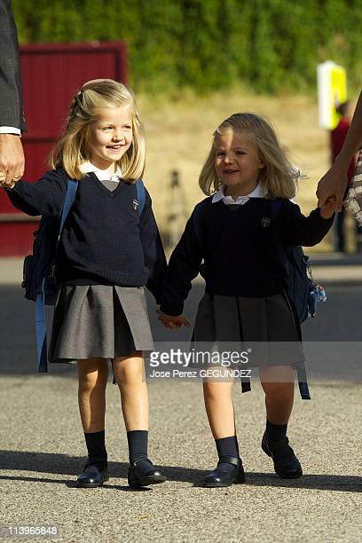 Leonor and Sofia of Spain Attend First Day of School In Madrid Spain On September 15 2010Princess Leonor and Princess Sofia arrives at school on...