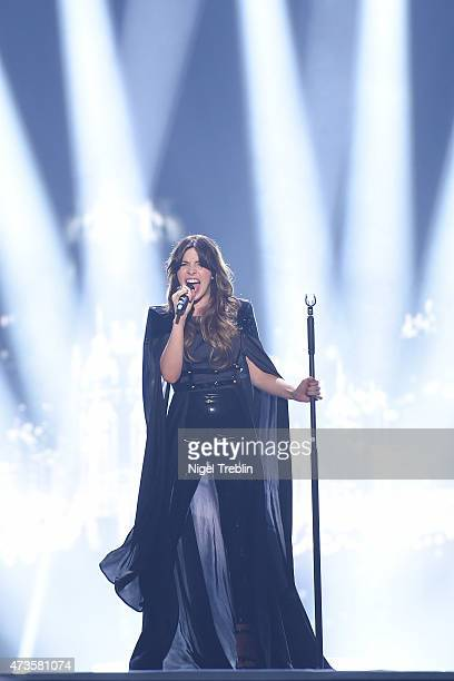 Leonor Andrade of Portugal performs on stage during a dress rehearsal ahead of the Eurovision Song Contest 2015 on May 16 2015 in Vienna Austria