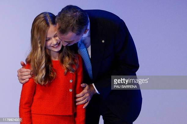 Leonor of Spain and her father king Felipe VI take part in the Princess of Girona Foundation Awards ceremony which marks its 10th anniversary, at...