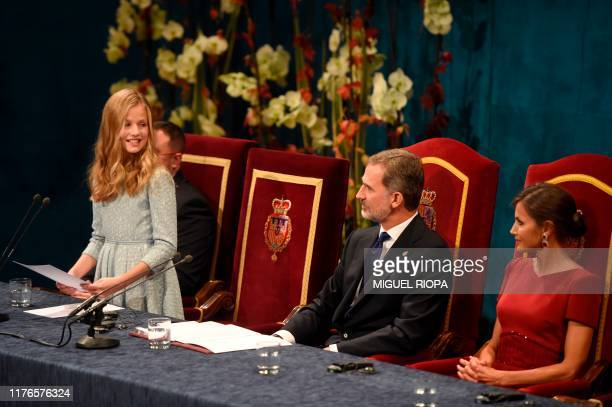 Leonor of Spain, Princess of Asturias , gives her first official speech nex to her parents Spain´s King Felipe VI and Queen Letizia during the 2019...