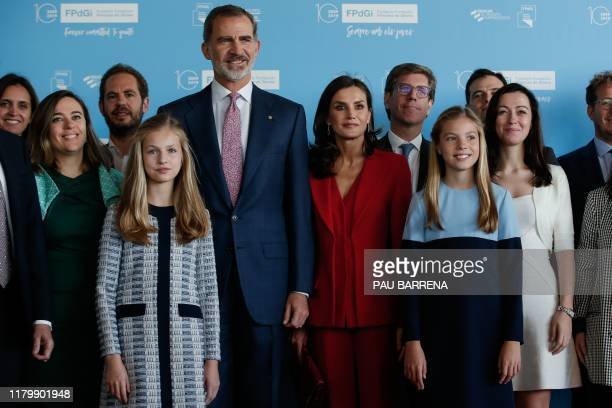Leonor of Spain Princess of Asturias King Felipe VI of Spain Queen Letizia of Spain and Princess Sofia pose for a family picture with past award...