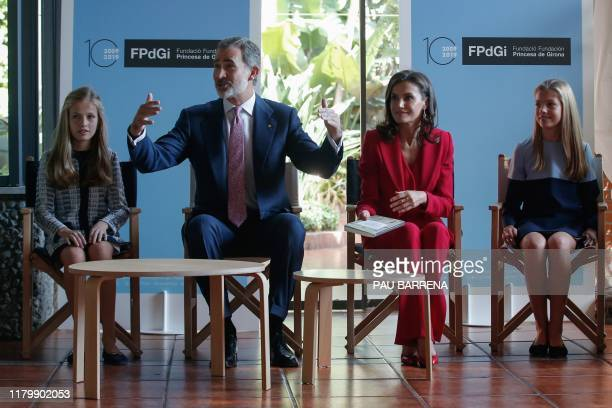 Leonor of Spain, Princess of Asturias, King Felipe VI of Spain, Queen Letizia of Spain and Princess Sofia pose for a picture as part of the 10th...