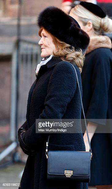 Leonora Anson Countess of Lichfield attends a Memorial Service for Gerald Grosvenor 6th Duke of Westminster at Chester Cathedral on November 28 2016...