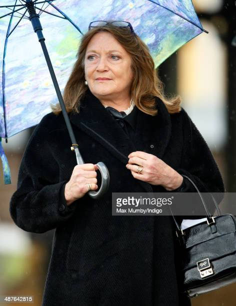 Leonora Anson Countess of Lichfield attends the funeral of Mark Shand at Holy Trinity Church Stourpaine on May 1 2014 near Blandford Forum in Dorset...