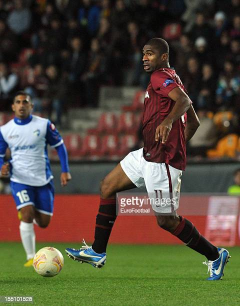 Leony Kweuke of AC Sparta Praha in action during the UEFA Europa League group stage match between AC Sparta Praha and Hapoel Kiryat Shmona FC held on...