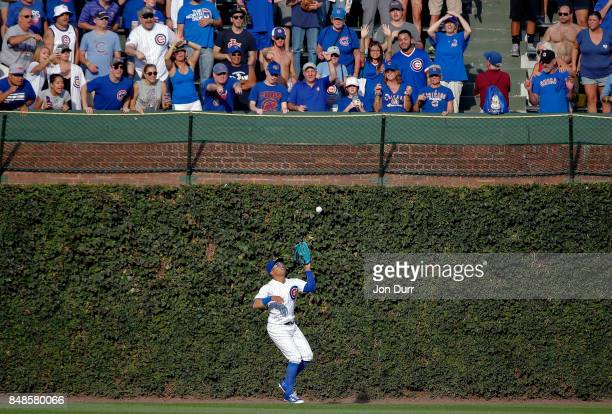 Leonys Martin of the Chicago Cubs makes a catch for the final out of the game on a ball hit by Dexter Fowler of the St Louis Cardinals at Wrigley...