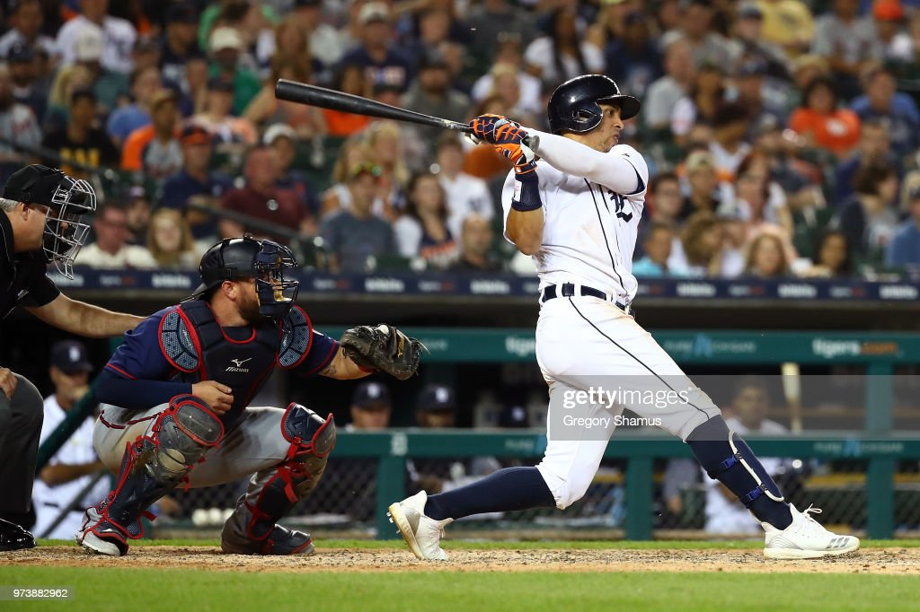 Leonys Martin #12 of the Detroit Tigers hits a eighth inning RBI single while playing the Minnesota Twins at Comerica Park on June 13, 2018 in Detroit, Michigan.