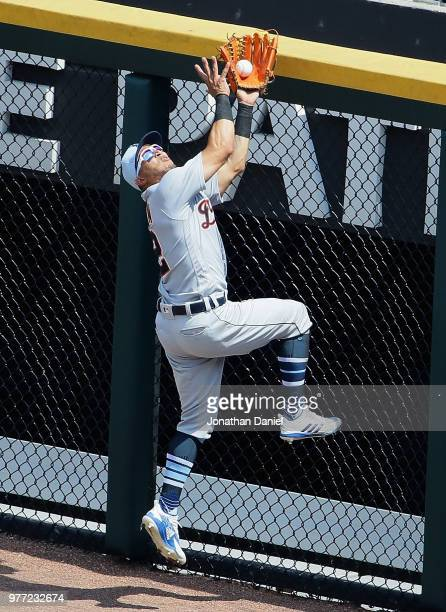 Leonys Martin of the Detroit Tigers makes a catch at the wall on a fly ball hit by Tim Anderson of the Chicago White Sox in the 5th inning at...